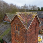full building drone inspection of old barn in cheshire